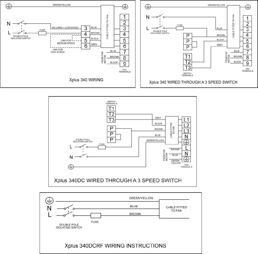 Page 3 Of Xpelair Ventilation Hood 340 User Guide Manualsonlinecom Wiring Diagram Fan Instructions