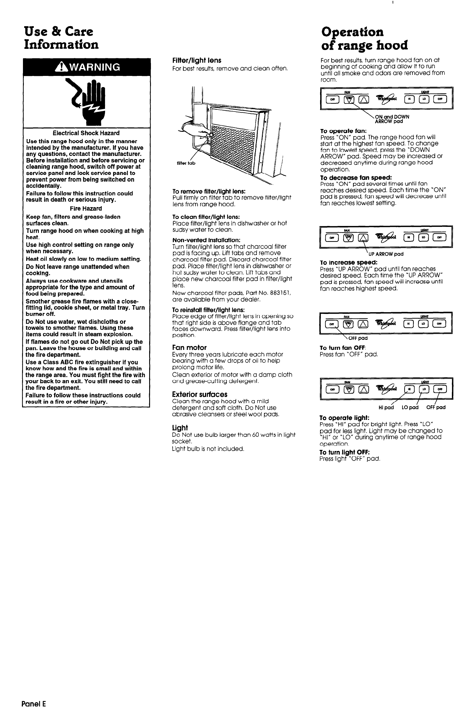 Page 6 of Whirlpool Ventilation Hood 761883306 User Guide