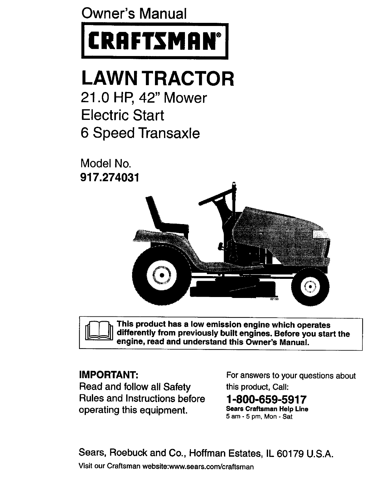 Owner's Manual. LAWN TRACTOR