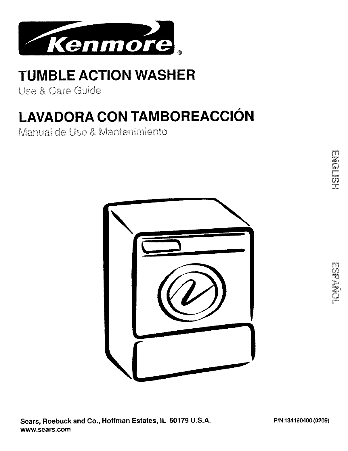 kenmore washer 134190400 0209 user guide manualsonline com rh audio manualsonline com Kenmore Stackable Washer Dryer kenmore super capacity 3.5 quiet tumble action washer manual