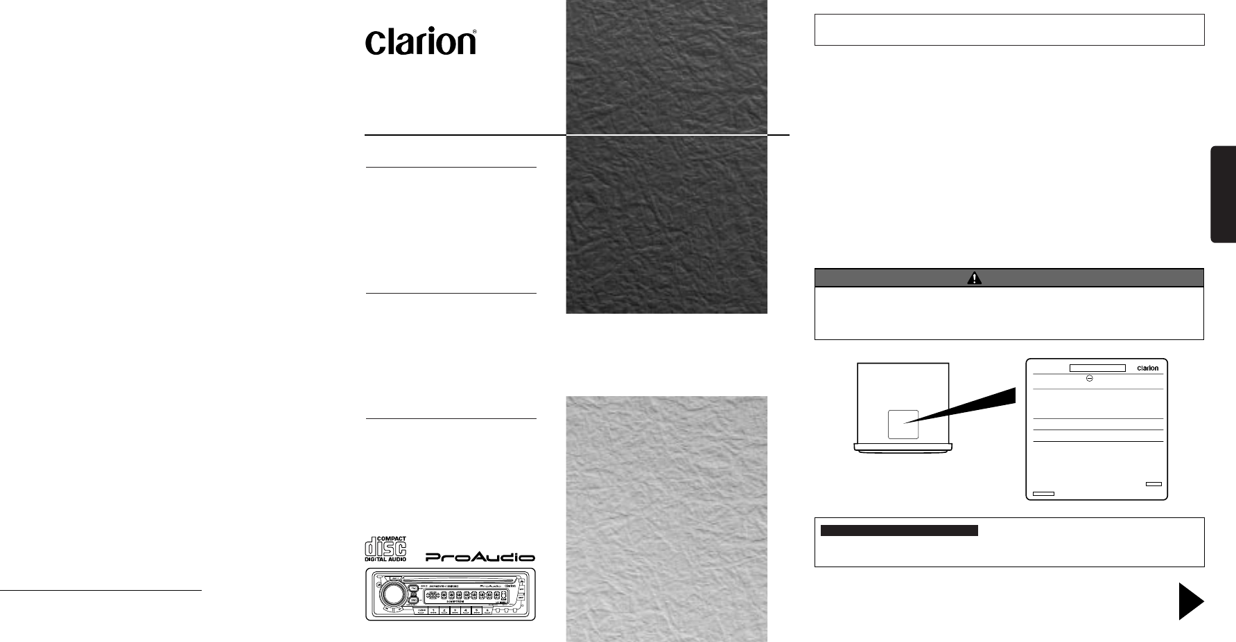 Clarion CD Player DB315 User Guide | ManualsOnline.com