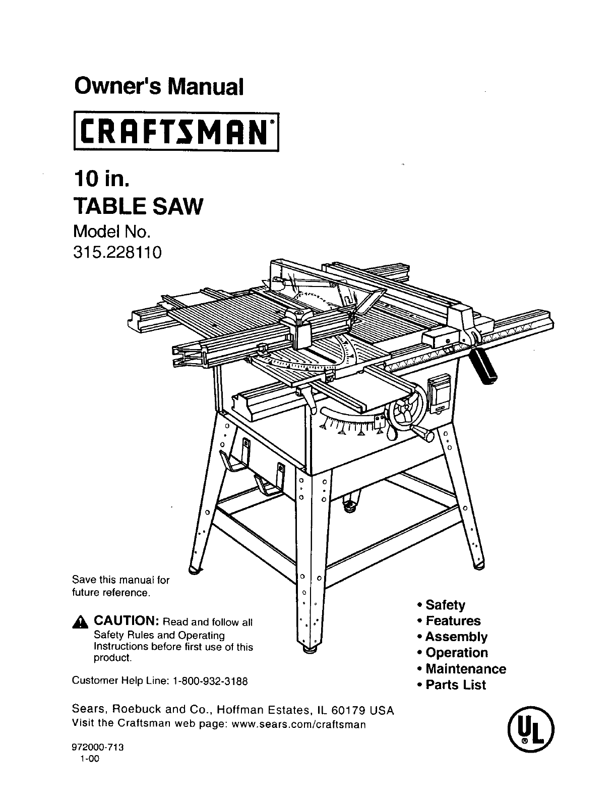 Craftsman saw user guide for 10 craftsman table saw manual
