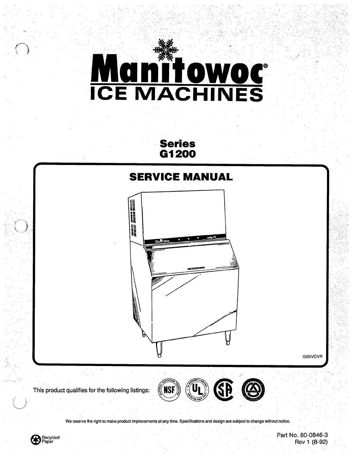 Manitowoc Ice Ice Maker g1200 User Guide | ManualsOnline.com on manitowoc ice maker parts manual, manitowoc machine wiring diagram, payne schematic diagram, manitowoc replacement parts,