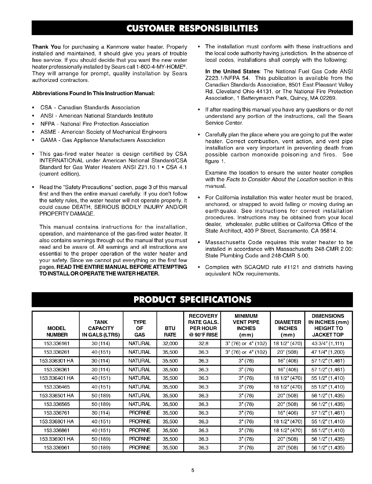Page 5 of Kenmore Water Heater 153 336465 User Guide