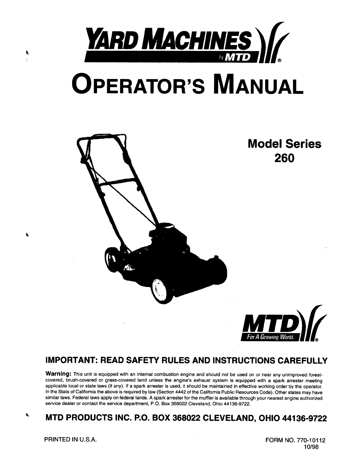 Mtd Yard Machines Manual Guide