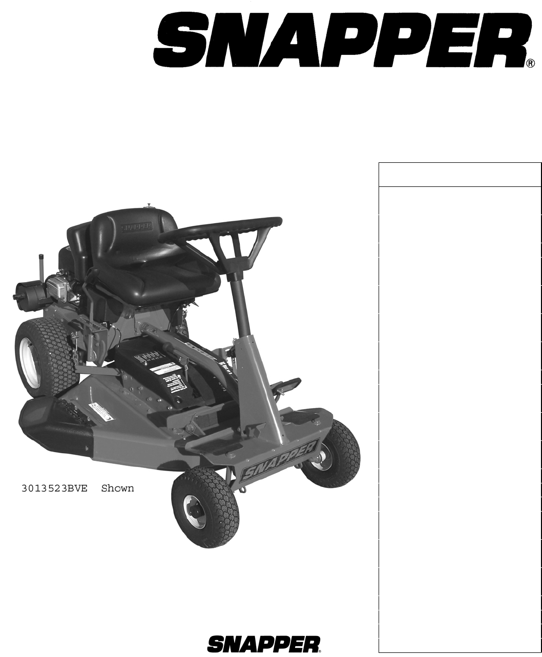 snapper lawn mower 2812523bve 7800104 user guide manualsonline com rh manualsonline com Snapper Lawn Mower Engine Replacement snapper comet riding mower service manual