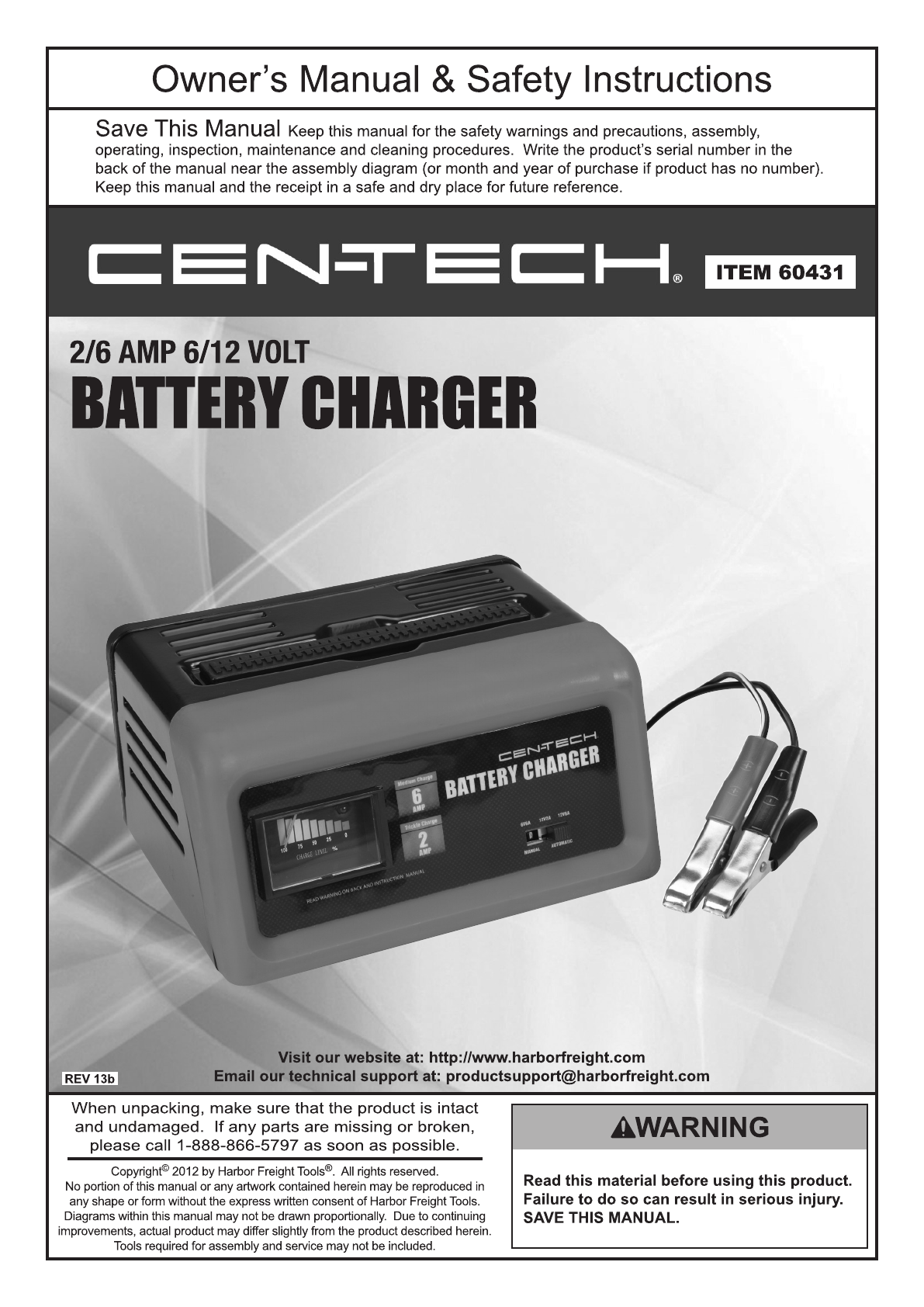 Harbor Freight Tools Automobile Battery Charger 60431 User Guide Manualsonline Com