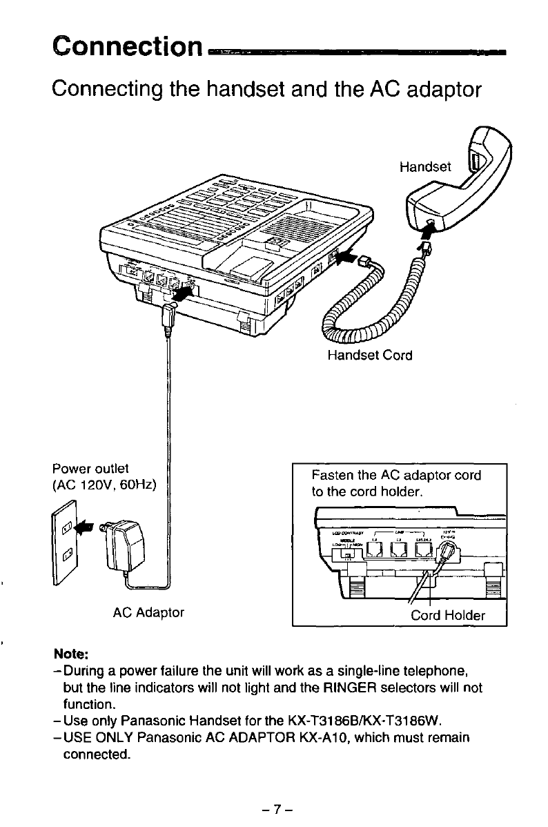 Page 7 Of Panasonic Telephone Kx T3186b User Guide Manualsonlinecom Diagram Also Headset Wiring On Conection 42