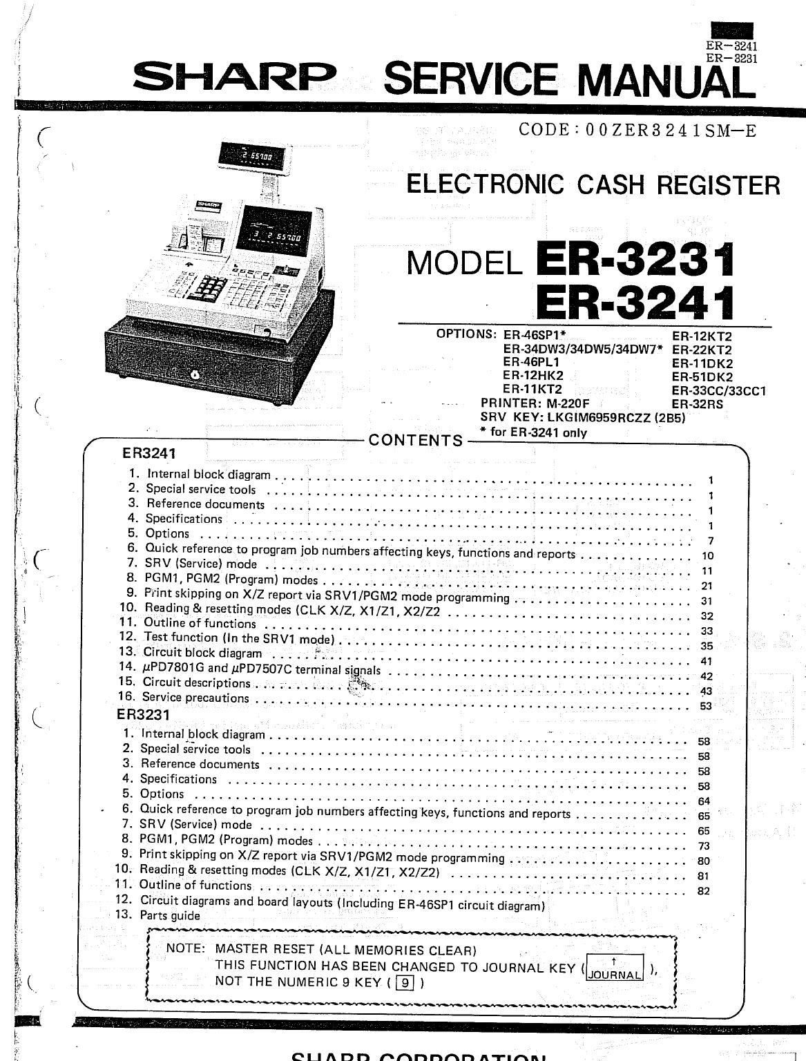 sharp cash register er 3241 user guide manualsonline com rh office manualsonline com owners manual kenmore elite Kenmore Parts