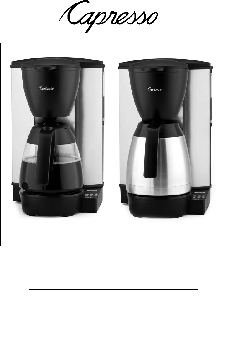 Capresso Coffee Maker Instructions : Capresso Coffeemaker MT600 User Guide ManualsOnline.com