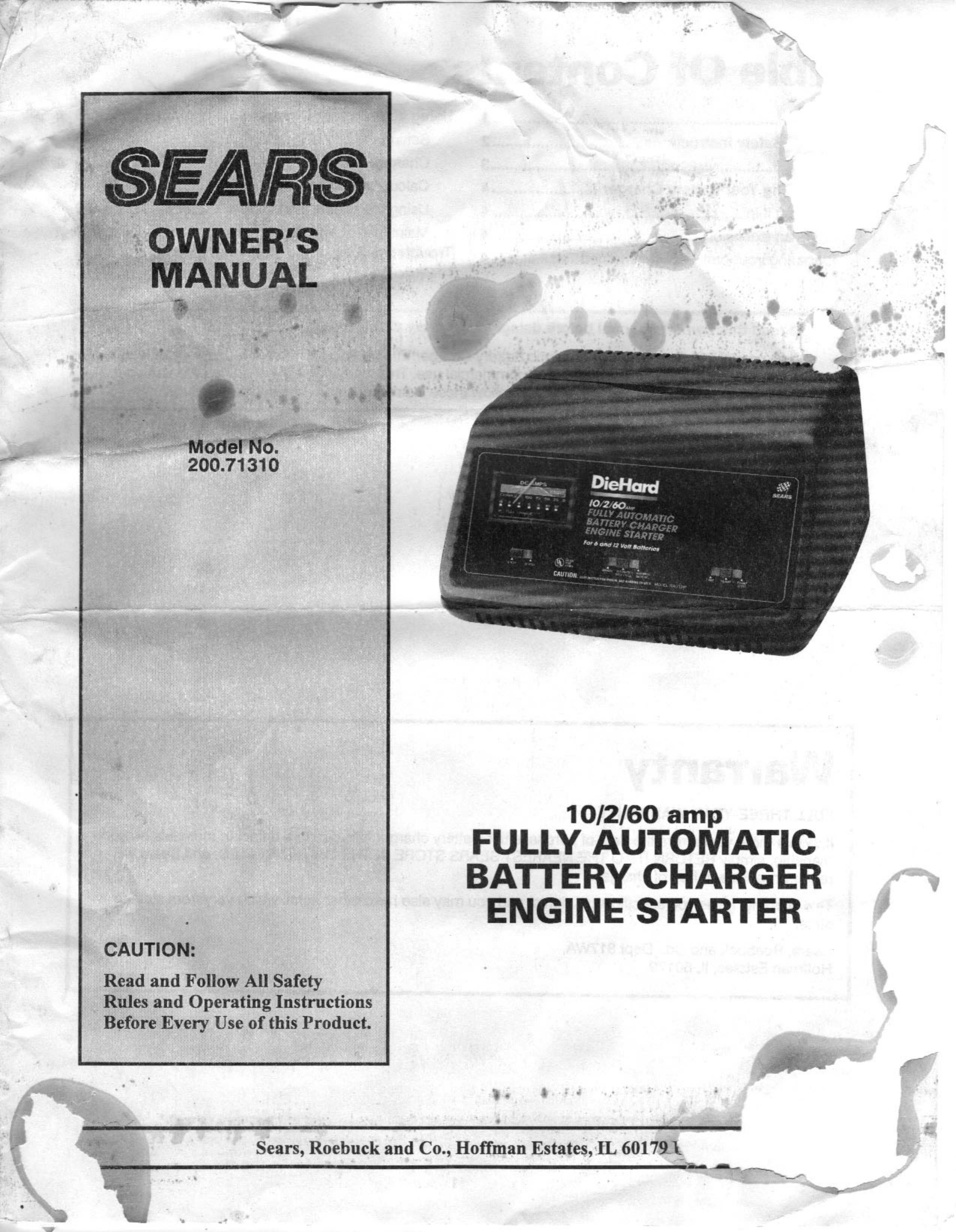 sears battery charger 200 71310 user guide manualsonline com sears 1.5 amp manual battery charger sears manual battery charger instructions