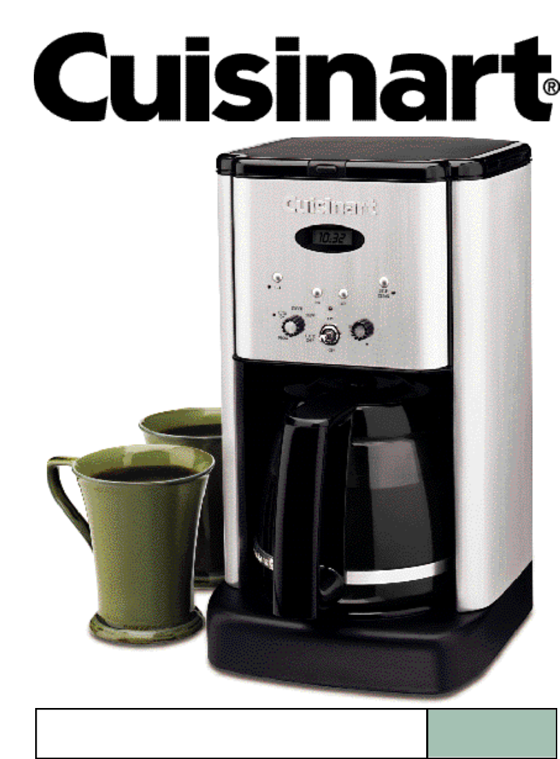 Cuisinart Coffee Maker Hot Water Manual : Cuisinart Coffee Maker Instruction Manual - Bing images
