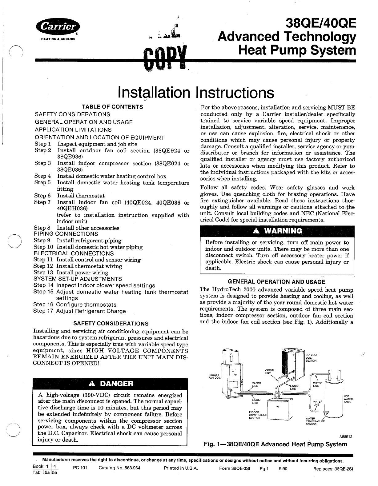 carrier heat pump 40qe user guide manualsonline com Carrier 3.5 Ton Heat Pump Carrier Heat Pump Package