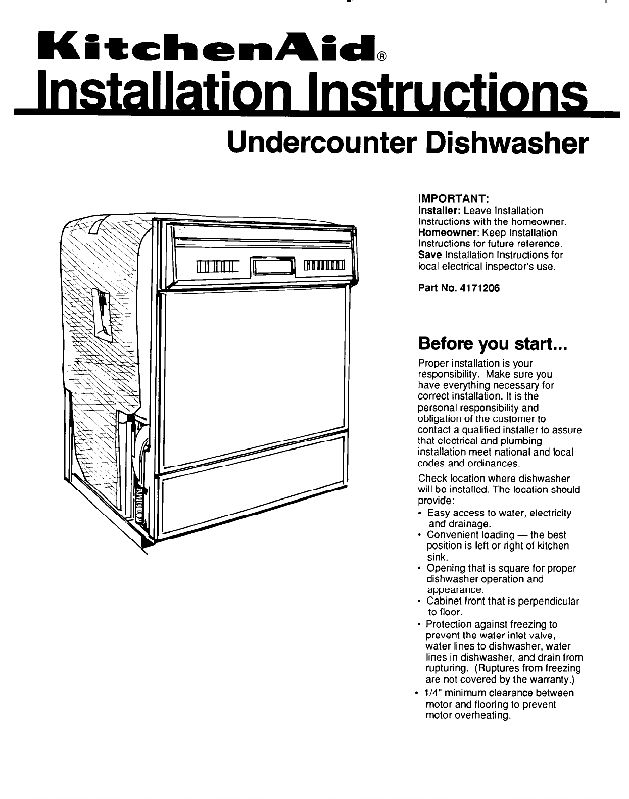 KitchenAid 4171206 Dishwasher User Manual