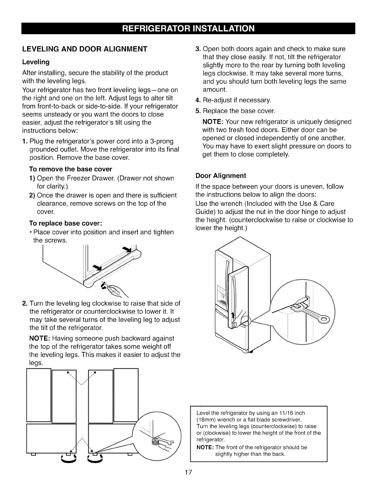 How To Level A Kenmore Refrigerator Page 17 Of Kenmore Refrigerator 7957105 User Guide