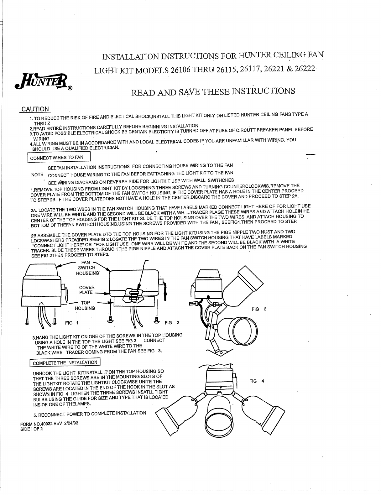 Hunter Fan Outdoor Ceiling 26106 User Guide Manualsonlinecom Installation Manual Next