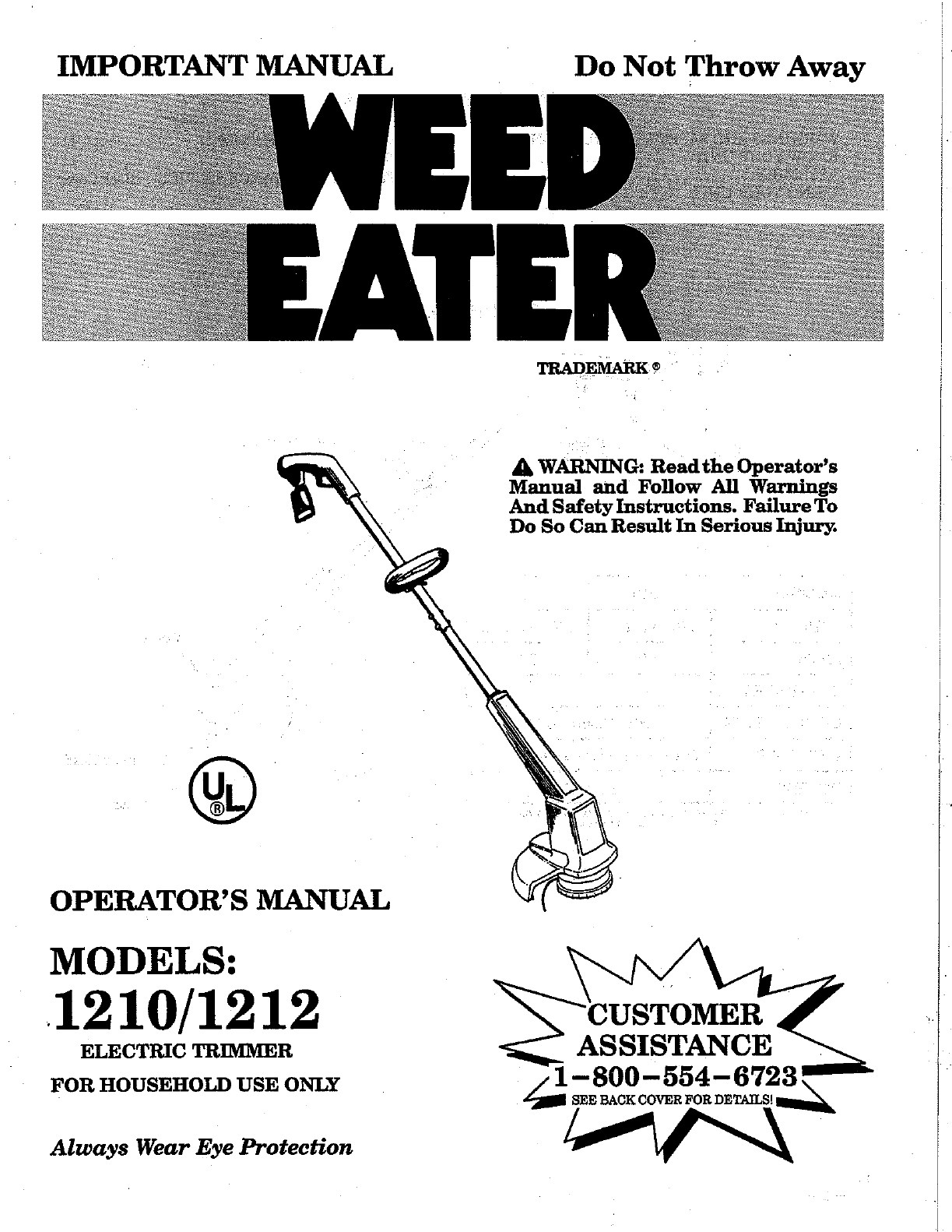 weed eater trimmer 1212 user guide manualsonline com rh lawnandgarden manualsonline com Poulan Weed Eater Parts Diagram Poulan Pro Weed Eater