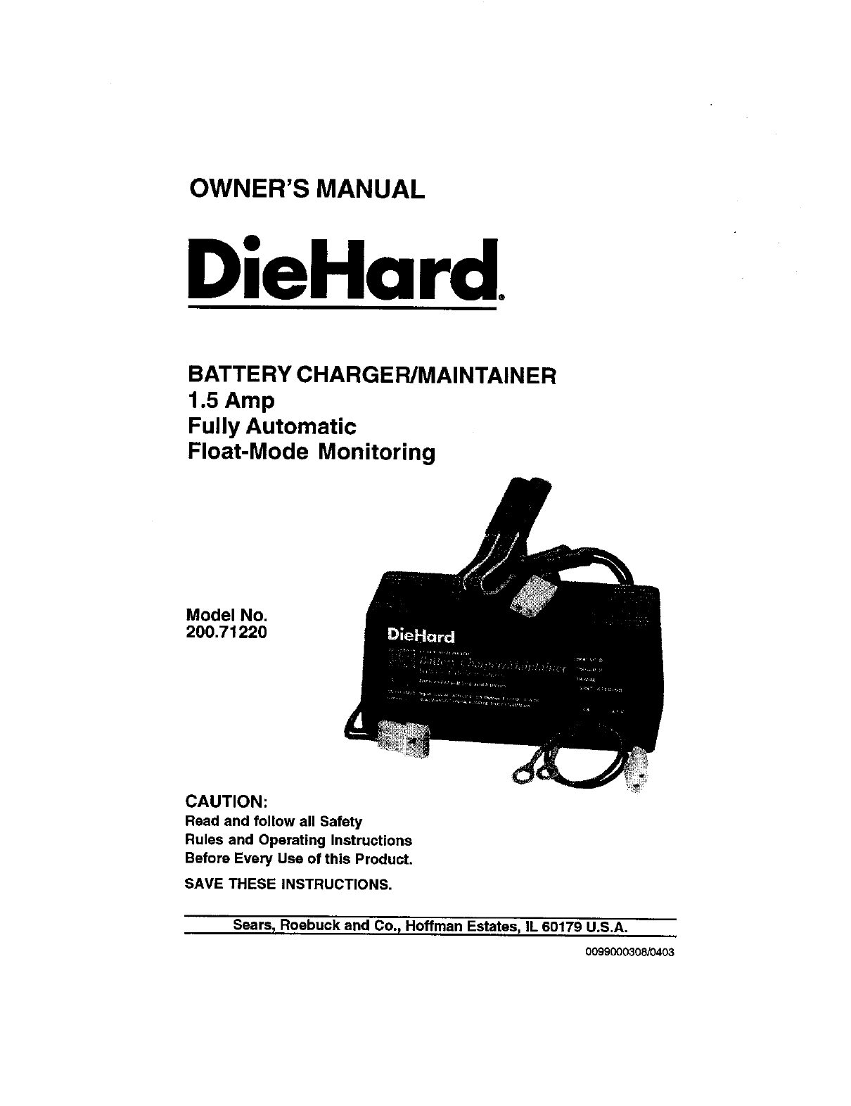 sears battery charger 200 7122 user guide manualsonline com rh powertool manualsonline com owners manual sears lawn mower user manual search