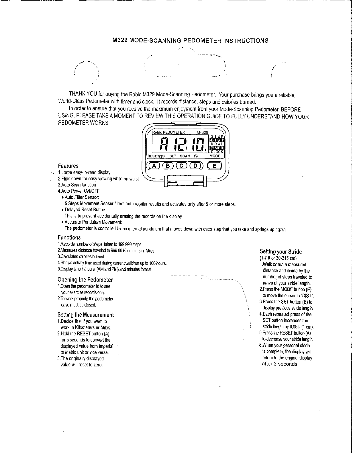 Robic M329 Fitness Electronics User Manual