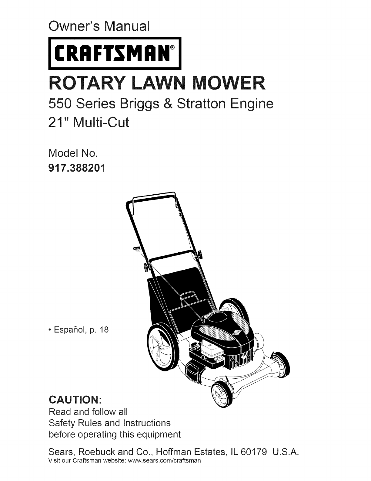 Craftsman Lawn Mower 917.388201 User Guide