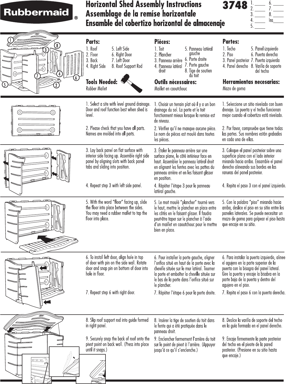 Assembly instructions for rubbermaid storage shed.