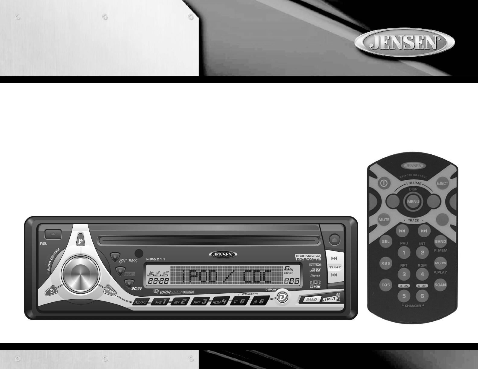 jensen car stereo system mp6211 user guide manualsonline com rh caraudio manualsonline com jensen marine radio manual jensen boat radio manual ms3a