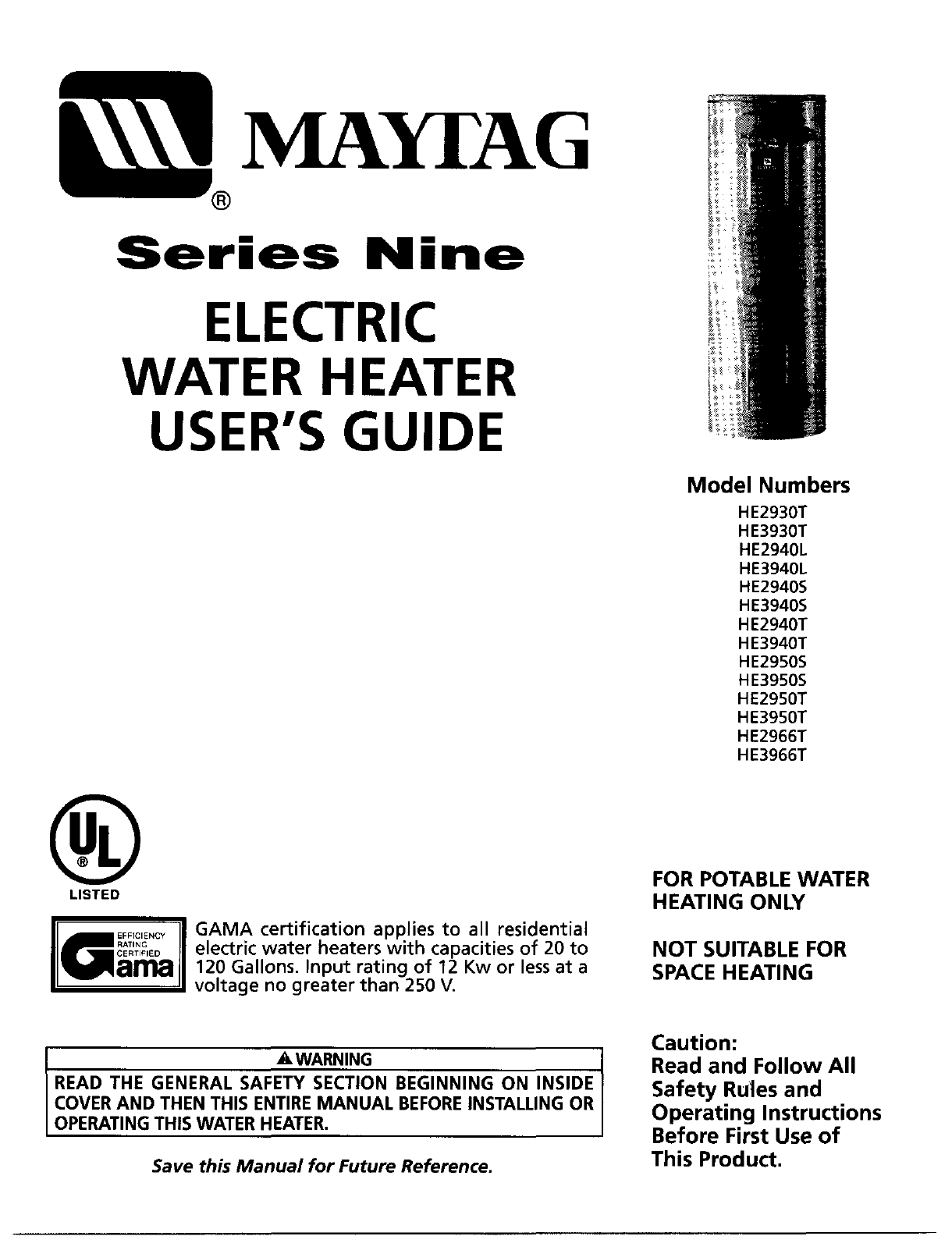 maytag water heater he2950t user guide | manualsonline