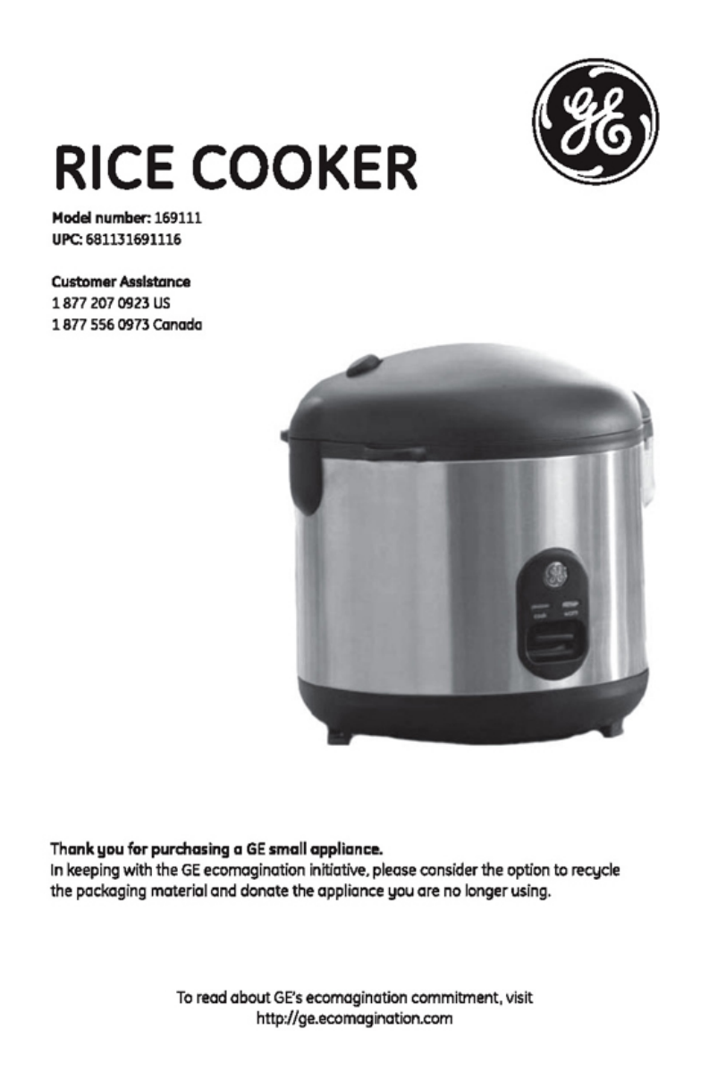 GE Rice Cooker 169111 User Guide | ManualsOnline com