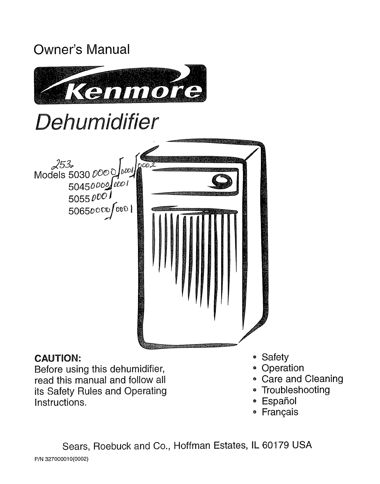 Kenmore Dehumidifier 5030 User Guide ManualsOnline.com #666666
