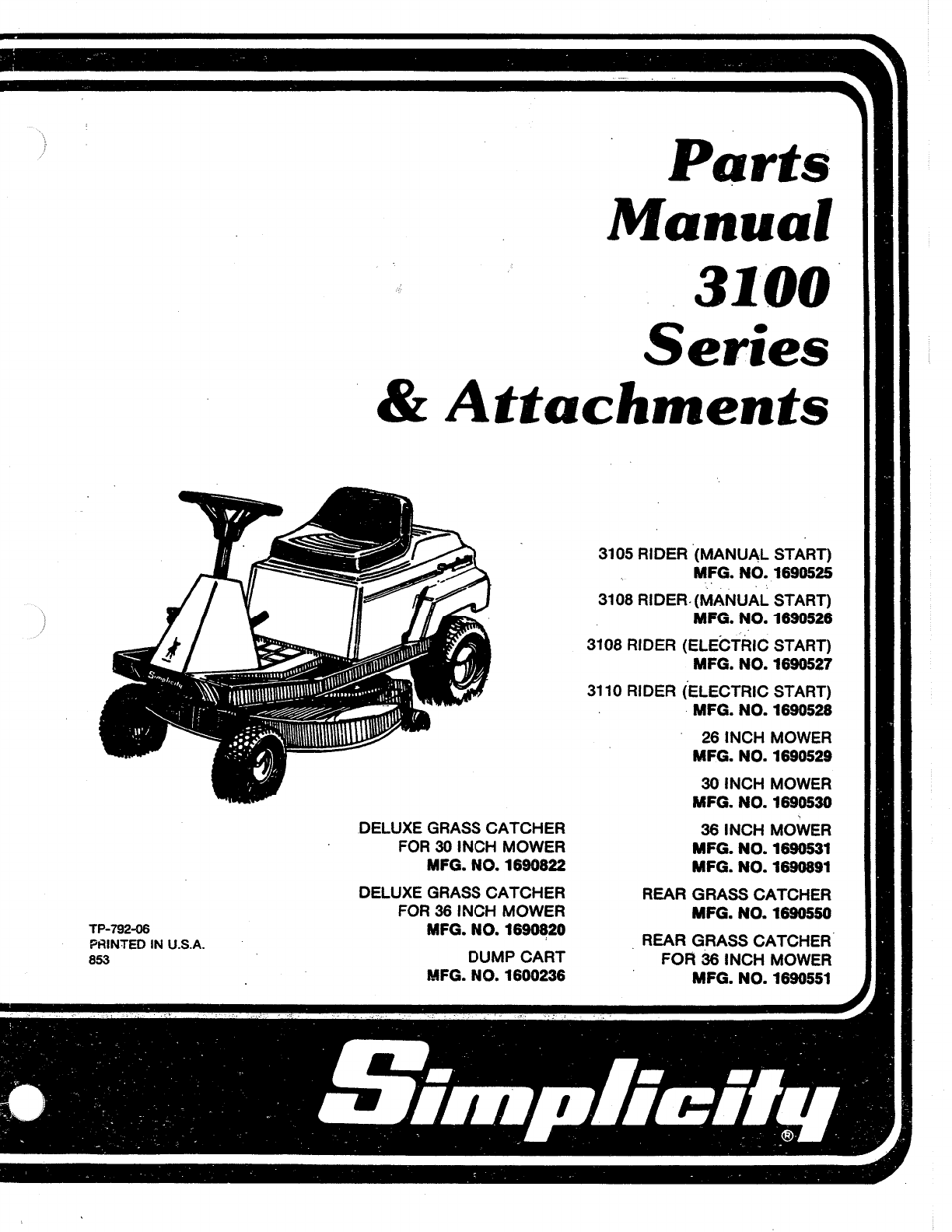 simplicity lawn mower 3100 series user guide manualsonline com rh audio manualsonline com simplicity parts manual tp-861 simplicity parts manual broadmoor