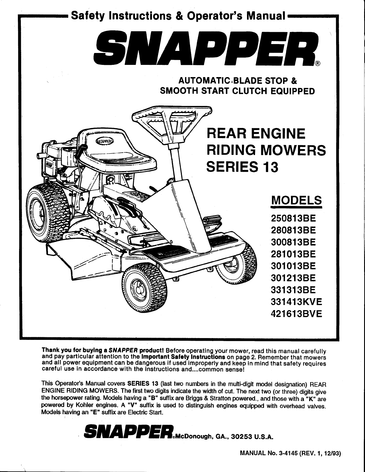 301213be 1 on snapper repair manuals online