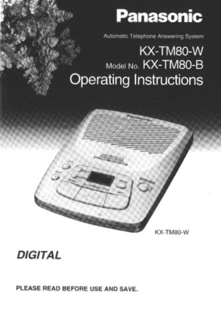 panasonic answering machine kx tm80 b user guide manualsonline com rh manualsonline com panasonic answering machine manual kx-tgea20 panasonic answering machine manual kx-tg7731