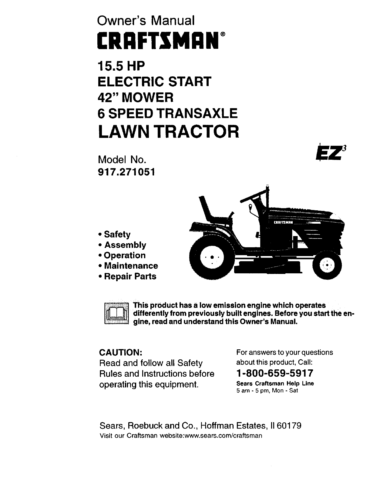 sears lawn mower 917 271051 user guide manualsonline com rh phone manualsonline com sears riding mower parts canada sears riding tractor manual