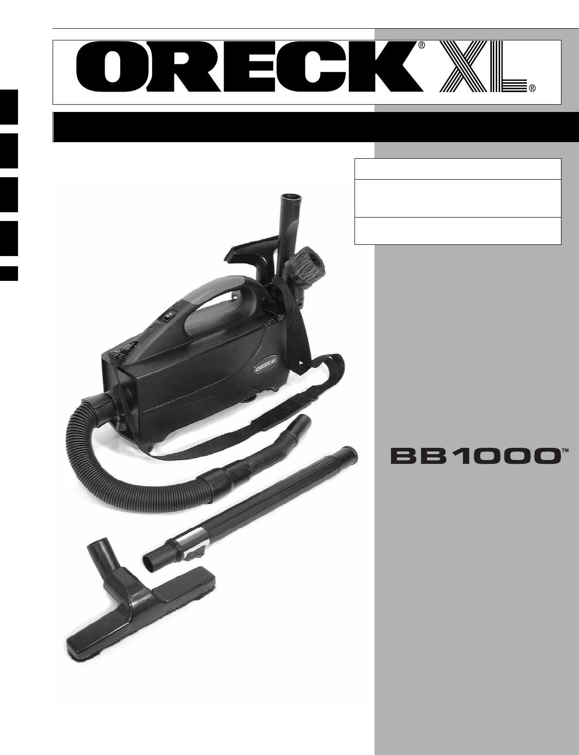 Oreck Vacuum Cleaner BB1000 User Guide