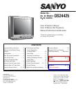 sanyo crt television ds24425 user guide manualsonline com rh tv manualsonline com