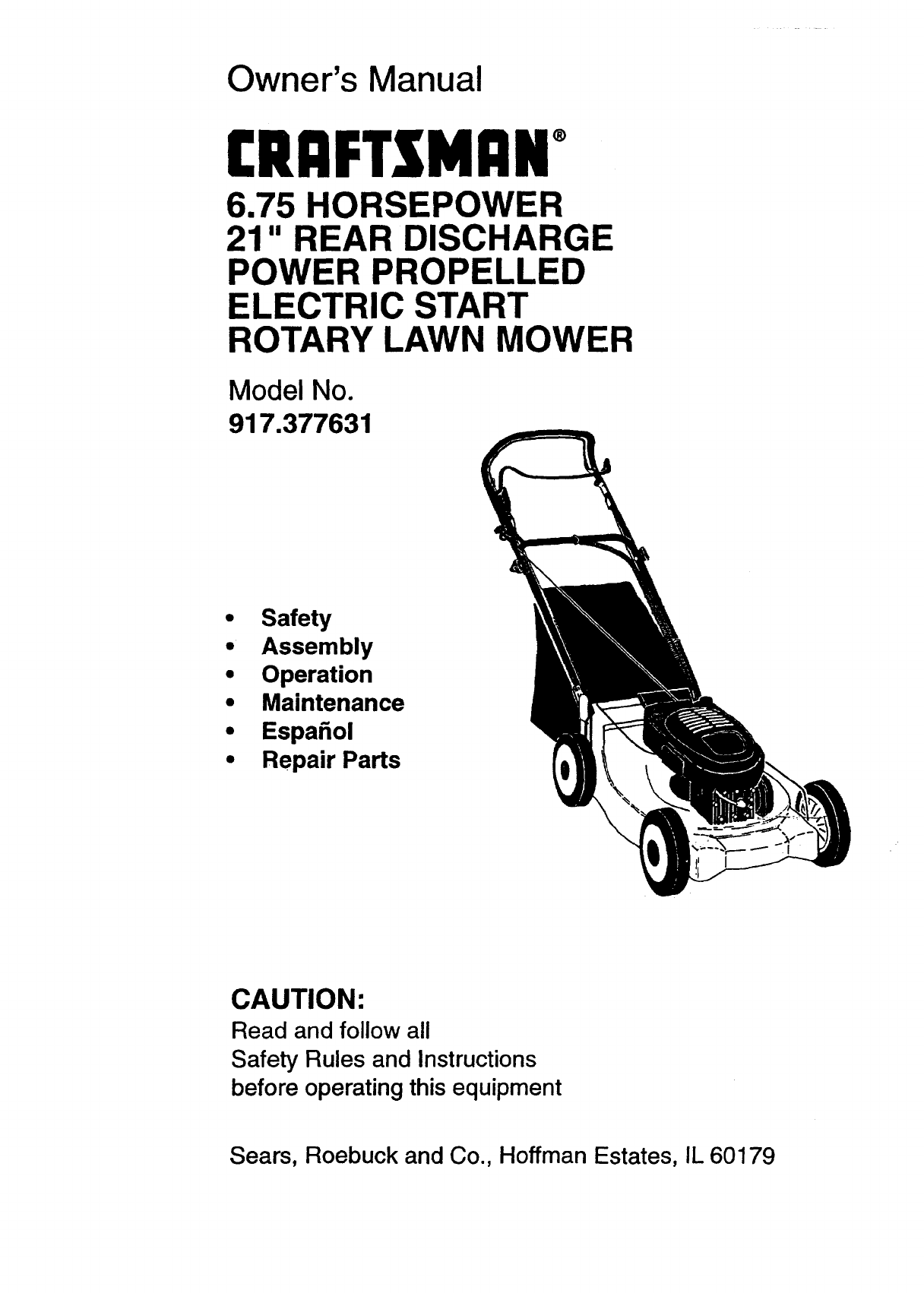 craftsman lawn mower 37763 user guide manualsonline com rh manualsonline com craftsman electric start lawn mower parts craftsman key start lawn mower parts