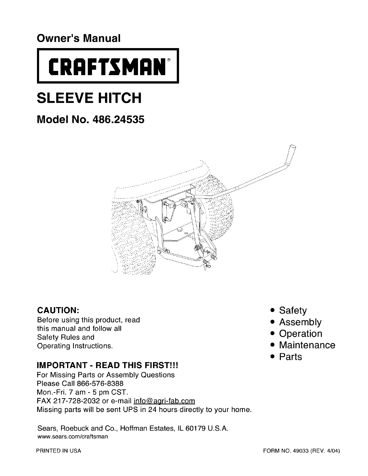 craftsman lawn mower accessory 486 24535 user guide manualsonline com rh lawnandgarden manualsonline com Craftsman Chainsaw Repair Manual Craftsman Riding Lawn Mower Engines