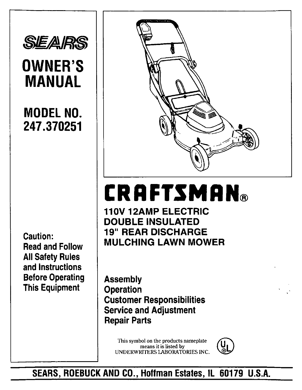 Craftsman Lawn Mower 247.370251 User Guide