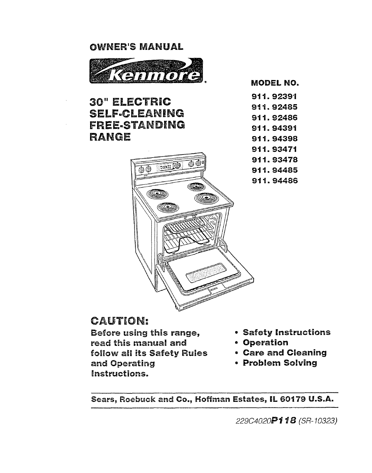 Kenmore Oven 911 92391 User Guide