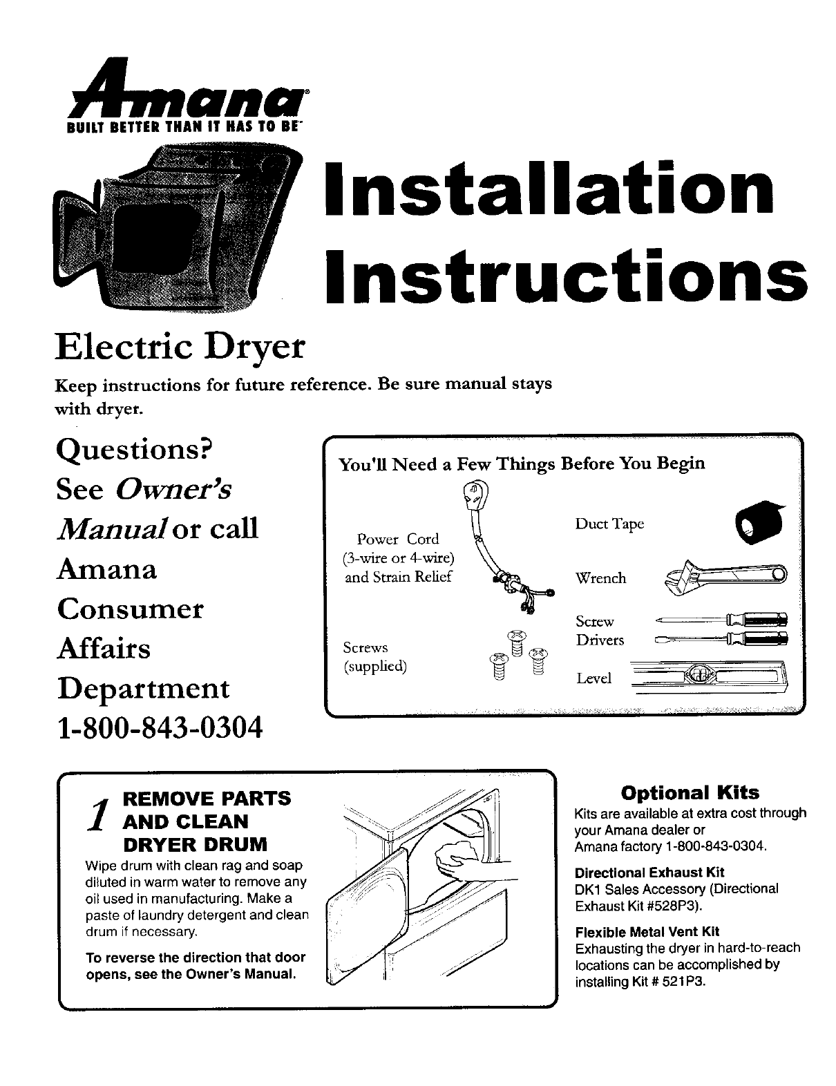 Amana Clothes Dryer 40086101 User Guide Manualsonline Com