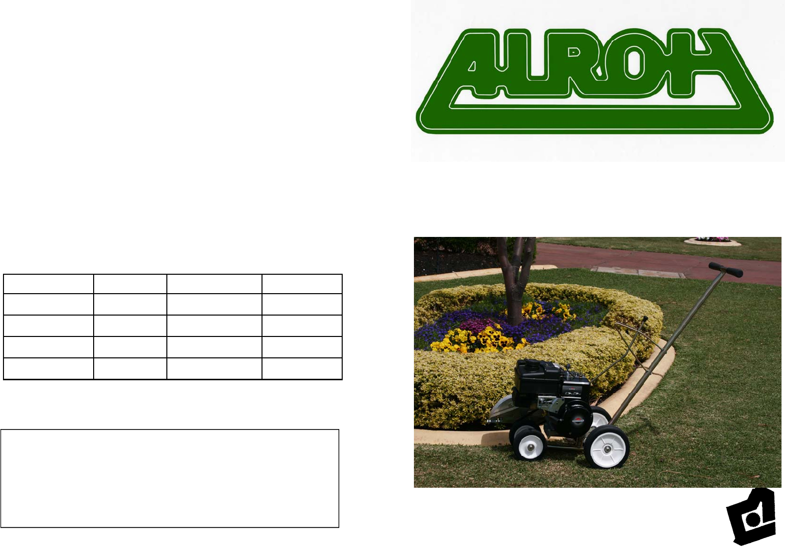 m e y equipment edger alroh edger user guide manualsonline com rh homeappliance manualsonline com Manual Lawn Core Aerator Manual Lawn Aerator Tool