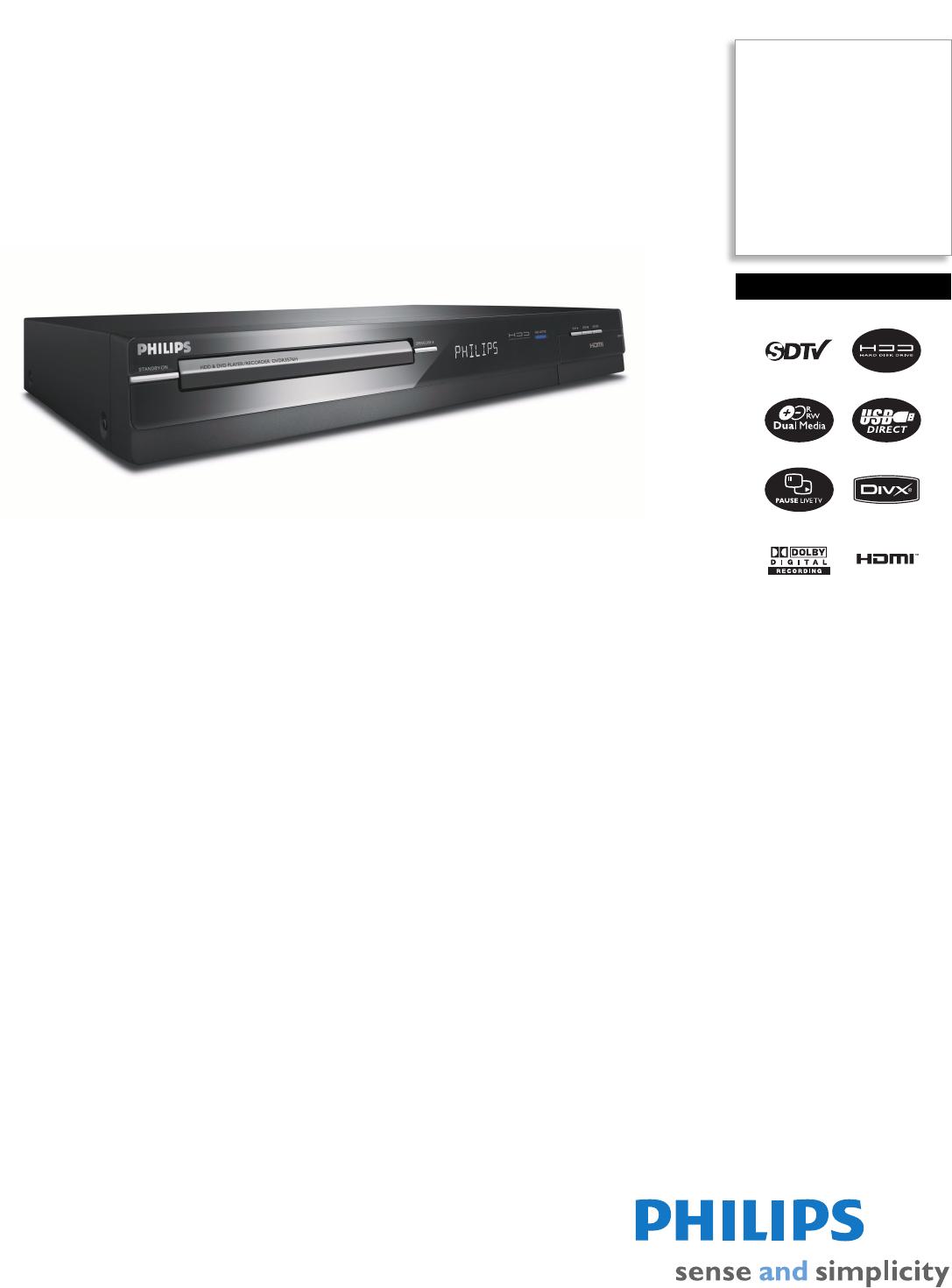 philips dvr dvdr3576h user guide manualsonline com rh tv manualsonline com 4 Channel DVR Manual Dish ViP722 DVR Manual