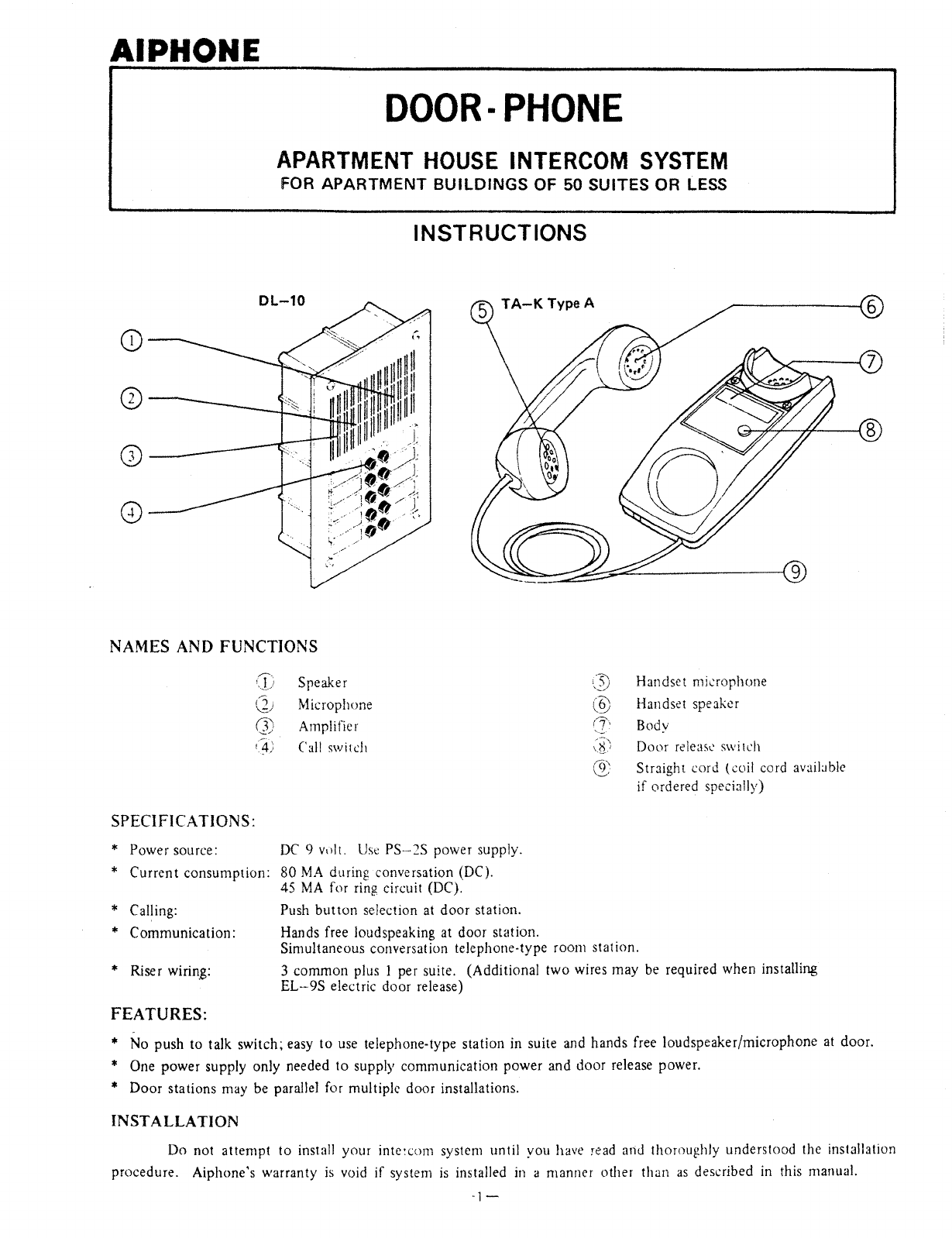 Aiphone Intercom System Ta K Type A User Guide Manualsonlinecom Wiring Diagram And Installation Next