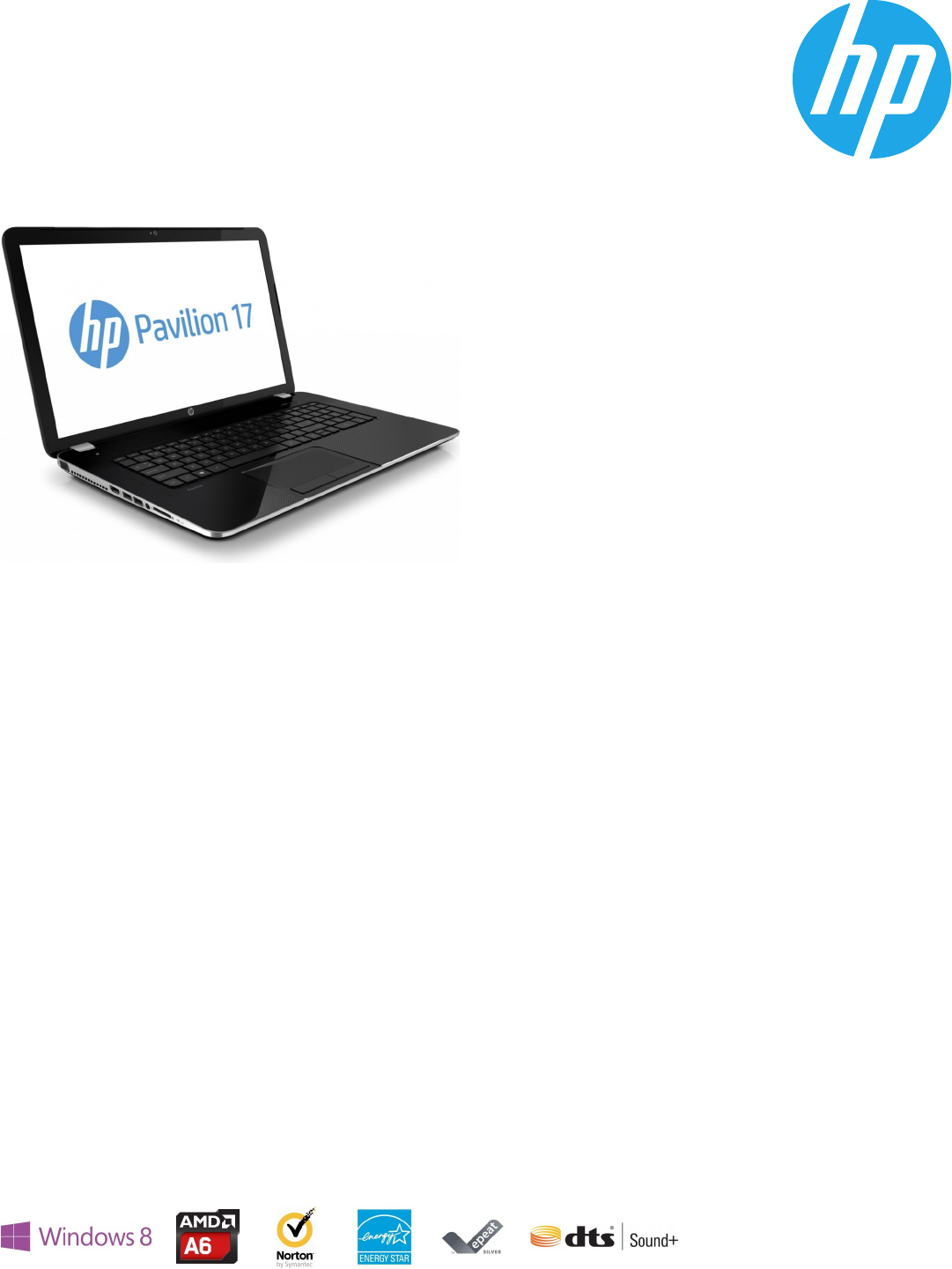 HP Pavilion 17-e030us. Notebook PC