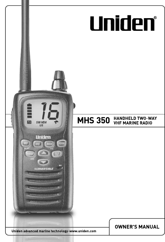 uniden two way radio mhs350 user guide manualsonline com rh phone manualsonline com uniden solara marine radio manual uniden um415 vhf marine radio manual