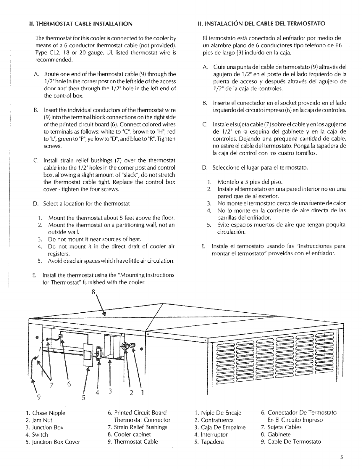 Page 5 Of Sears Air Conditioner Ph 4801 User Guide Manualsonlinecom Thermostat Wiring Red Black White Green Jl Cable Nstallation L Insta C N Del Termostato