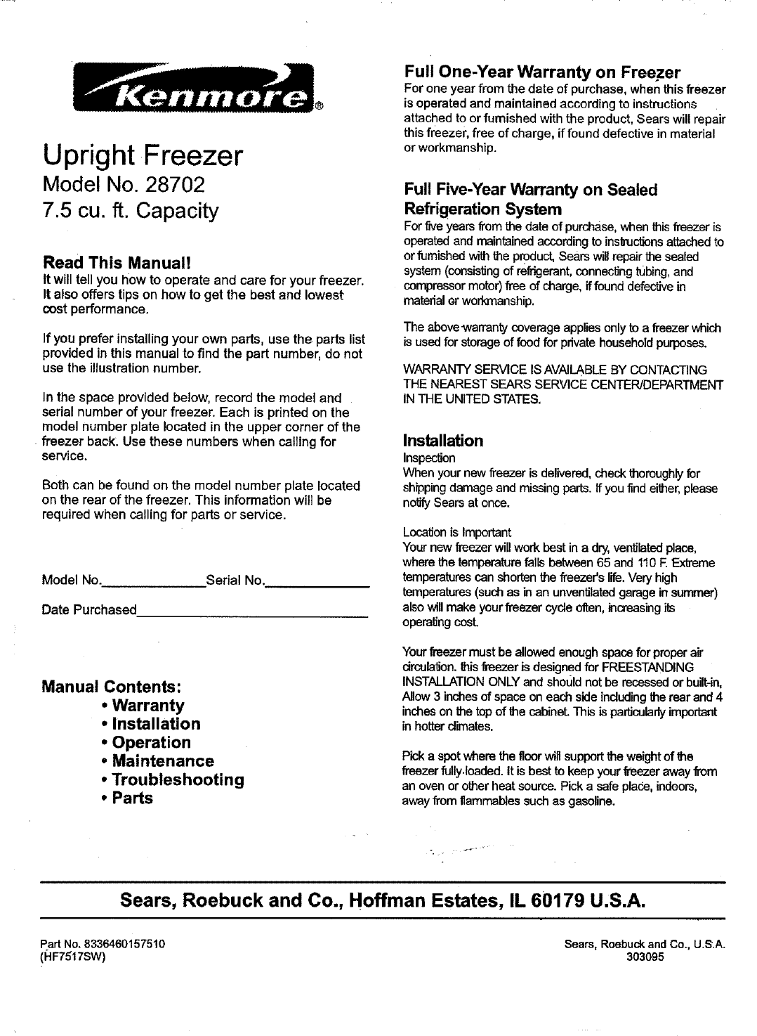 kenmore freezer 564 28702700 user guide manualsonline com rh kitchen manualsonline com Kenmore Air Conditioner Thermostat Kenmore Electric Dryer Thermostat