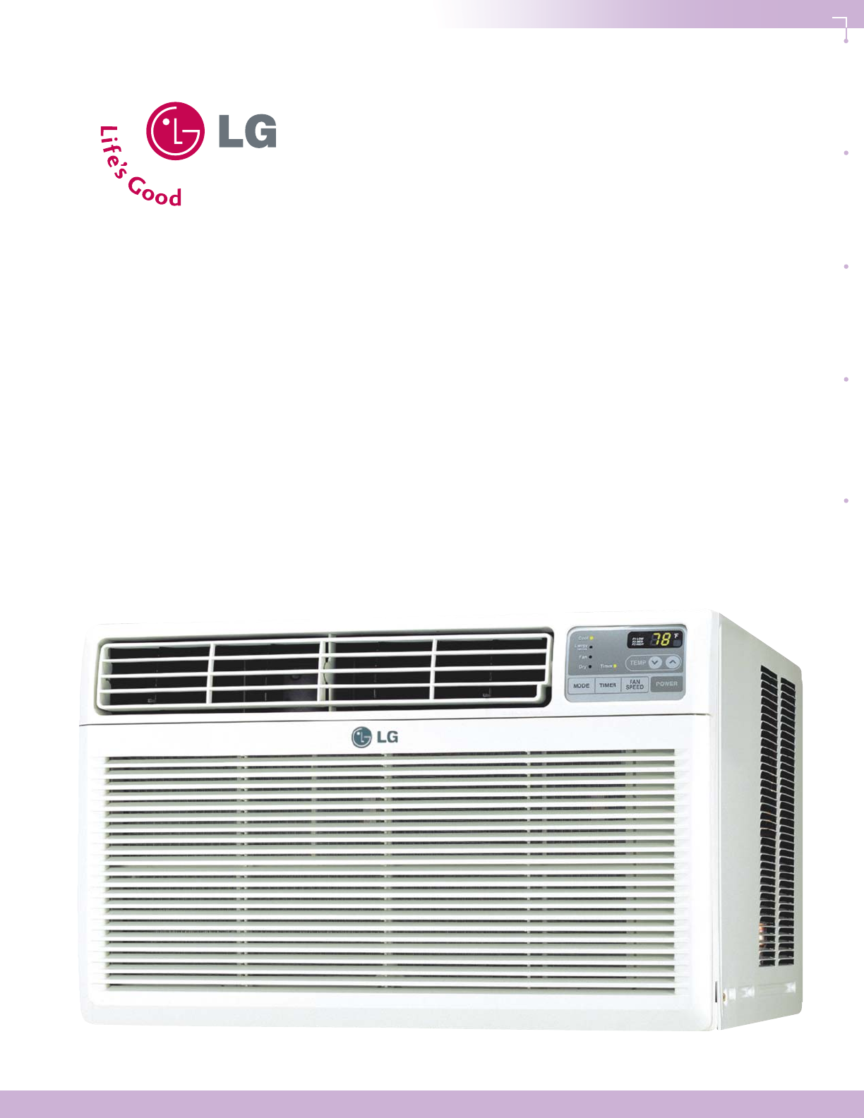 lg electronics lwhd1800r air conditioner user manual