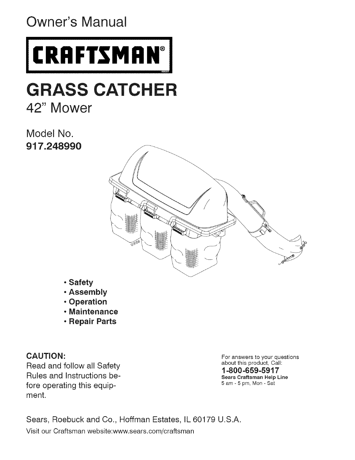 craftsman lawn mower accessory 917 24899 user guide manualsonline com rh lawnandgarden manualsonline com Craftsman Weed Wacker Manual Craftsman Electric Lawn Mower