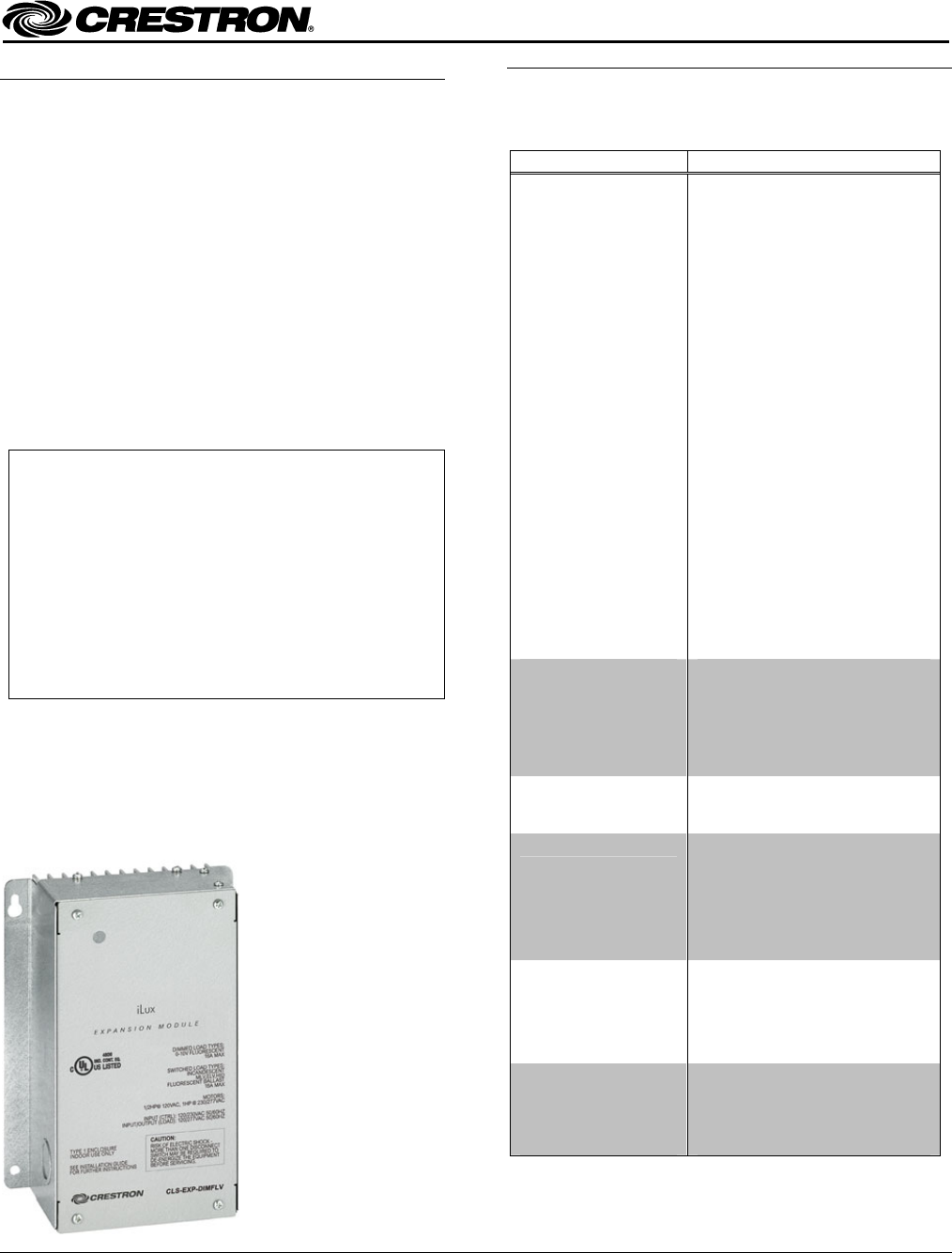 Crestron Electronic Work Light Cls Exp Dimflv User Guide Lighting Dimmer Wire Diagram Electronics Inc Installation